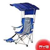 Raise Your Game RYG Folding Camping Chair Set, Portable Outdoor Reclining Camp Chairs, Heavy Duty Lightweight Lounge Beach Chair with Adjustable Shade Canopy (Blue)