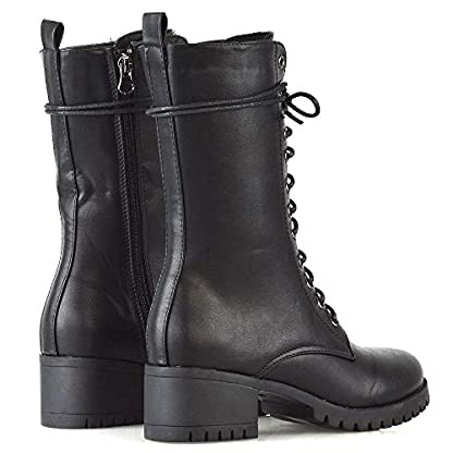 ESSEX GLAM Womens Lace Up Mid Calf Chunky Block Low Heel Boots Ladies Grip Sole Platform Combat Shoes 5