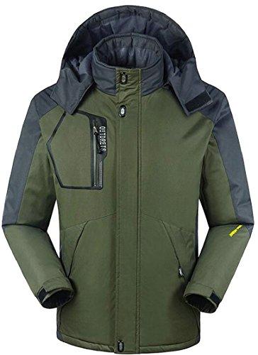 Price comparison product image Esast Men Autumn Outdoor Windproof Waterproof Raincoat Fleece Ski Hiking Jacket Armygreen XXL