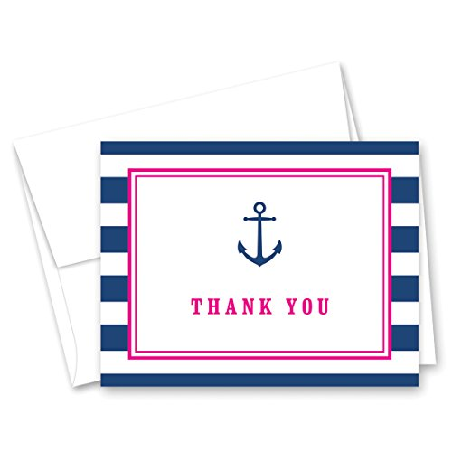 50 Cnt Navy Stripes Pink Border Anchor Nautical Baby Shower Thank You Cards