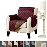 Deluxe Reversible Quilted Furniture Protector. Two Fresh Looks in One. by Home Fashion Designs Brand. (Chair - Burgundy/Taupe)