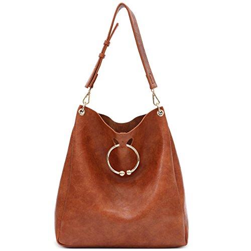 Yojoy Women's Soft Faux Leather Hobo Handbags Ladies Shoulder Bag Tote Purse (Brown) by Yojoy