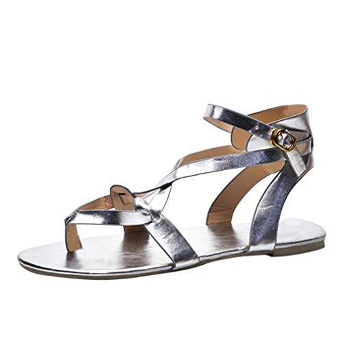ZycShang Women Sandals Summer Ladies Sandals Cross Strap Flat Ankle Roman Casual Shoes Size 5-9 Silver 5EUe5gKH