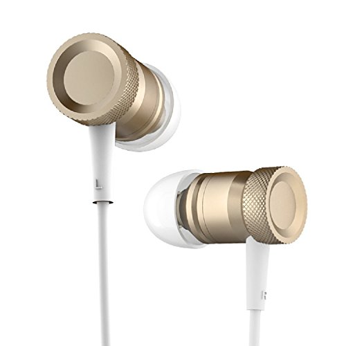 Granvela All Metal Earphones with Microphone, R51 Hi Fidelity Earbuds for Smartphone-Gold