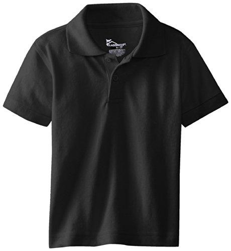 (CLASSROOM Little Boys' Preschool Unisex Short Sleeve Pique Polo, Black, 3T)