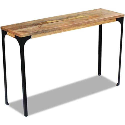 Festnight Mango Wood Console Table with Durable Steel Frame, 47.2