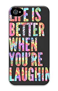 iPhone 5 5s Case, Life Laughing Quote Personalized Case for iPhone 5 5s 3D PC Material
