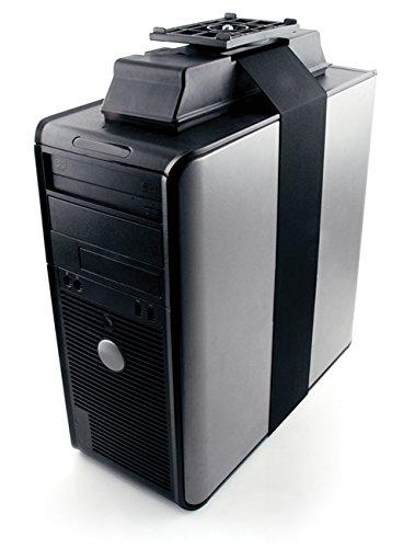 Knape & Vogt 7322AZ17 Adjustable Under-Desk, Storable CPU Holder with 360 Degree Swivel in Black - Underdesk Cpu