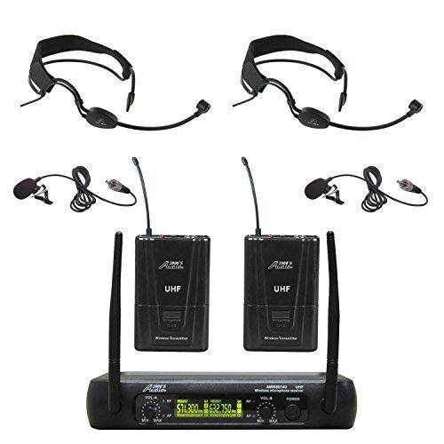 Audio 2000s AWM6074UF Dual Channel UHF Wireless Microphone System with 2 Headband Headsets & 2 Lapel Lavalier Microphone