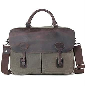 Mens Bag Casual Business Briefcase Shoulder Messenger Crossbody Satchel Bag,Black/Fuchsia/Green/Khaki Office Vintage Style Backpack Handbag High capacity (Color : ArmyGreen)