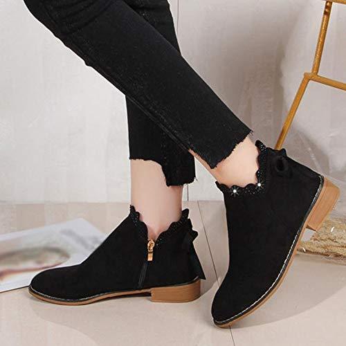 Zapatillas Negro Otoño Botines De Qinmm Gamuza Mujer Botas Para Zapatos Planas YvwzzO