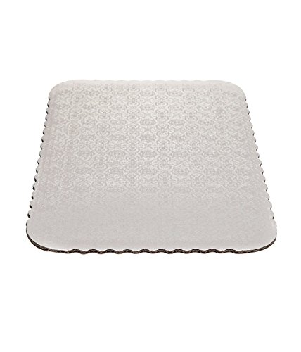 Sheet Pads Corrugated (W PACKAGING WPW4350 1/2 Sheet (18.375x13) White Double Wall Scalloped Edge Cake Pad, Corrugated with Coated Embossed Foil Paper (Pack of 50))