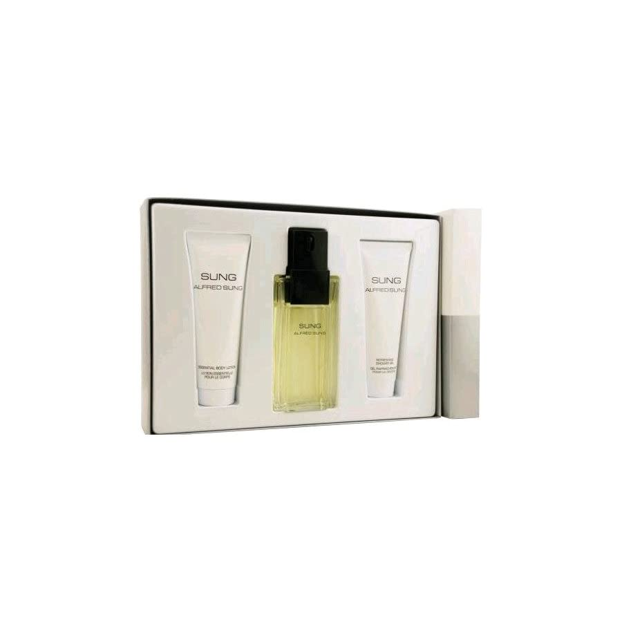 Sung by Alfred Sung for Women. Set Eau De Toilette Spray 3.4 Ounces & Body Lotion 2.5 Ounces & Shower Gel 2.5 Ounces
