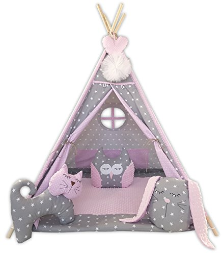 izabell Children's Teepee Tipi Set for Children Indoor Outdoor Toy Tent with Window Teepee with Accessories Pink