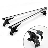 "MPH Production 2Pcs 50"" (127cm) Universal Fit Silver Oval Adjustable Aluminum Window Frame Roof Rack Rail Cross Bars Utility Cargo Carrier with 3 Pairs of Mounting Clamps (2 Pcs)"