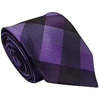 Gravata Slim Trabalhada Xadrez Importada Roxo Escuro