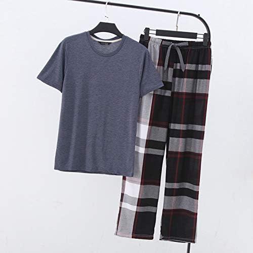 パジャマ CHJMJP 夏のコットンパジャマはメンズショートスリーブパンツパジャマメンズカジュアルパジャマを設定します。 (Color : TBDXT19812A 3, Size : XL)
