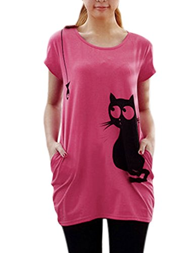 Allegra K Women Round Neck Short Sleeve Cat Prints Loose Tunic Top 41hqw19yS 2BL