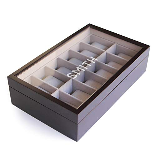 - Monogrammed 12 Slot Espresso Wooden Watch Box Organizer with Glass Display Top