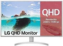 "LG 32QK500-W, Monitor QHD de 80 cm (31.5"") con Panel IPS (2560 x 1440 píxeles, 16:9, 300 cd/m², NTSC >72%, 1000:1, 8 ms, 75 Hz) Color Plata y Blanco"
