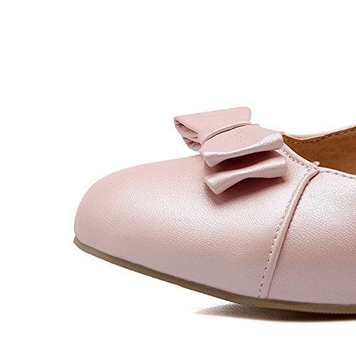Toe Korkokenkiä Solki Pehmeä Pyöreä Allhqfashion kengät Naisten Suljetun Pinkki Kiinteä Materiaali Pumput w7WgH7XY0q