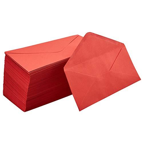 (Business Envelopes - 200-Pack #10 Envelopes, Standard V-Flap Envelopes for Holiday, Office, Checks, Invoices, Letters, Mailings, Windowless Design, Gummed Seal, Red, 4-1/8 x 9-1/2 Inches)