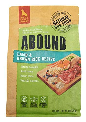 Abound Grain Free Natural Dry Adult Dog & Puppy Food, Lamb & Brown Rice Recipe, 4 lbs