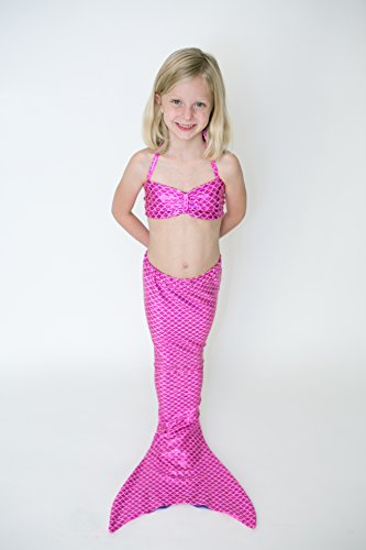 [Fairy Tail Mermaids, Mermaid Tail for Swimming (Tail Only) (Children's 4, Pink)] (Mermaid Fairy Costumes)