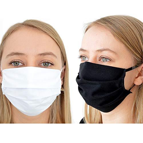 BambiniWelt Mund-Nasen-Maske Gesichtsmaske 3-lagig Baumwolle Filter Vlies wiederverwendbar (10-Stück, schwarz)