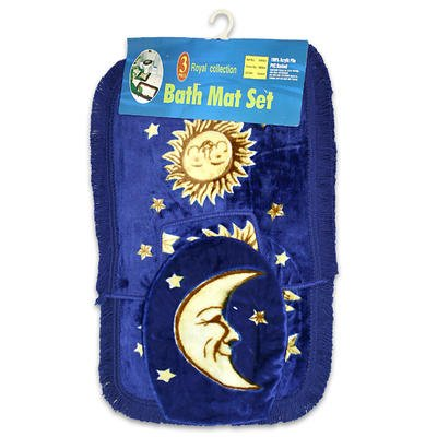 Amazon Com Sun Moon And Stars Celestial Bathroom Bath Mat 3 Piece