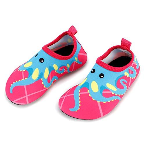 Bigib Toddler Kids Swim Water Shoes Quick Dry Non-Slip Water Skin Barefoot Sports Shoes Aqua Socks for Boys Girls Toddler, Pink Octopus, 5 Toddler