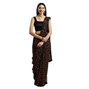Womanista Women's georgette with blouse piece 7510 Sarees (TKIM811_ Black_ Free Size)