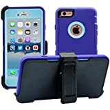 iPhone 6 Plus / 6S Plus Cover | 2-in-1 Screen Protector & Holster Case | Military Grade Edge-to-Edge Protection with carrying belt clip | Drop Proof Shockproof Dustproof |Purple / Teal