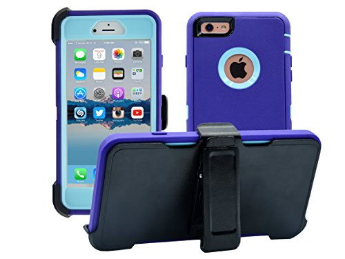 AlphaCell, iPhone 6 Plus / 6S Plus (ONLY) Cover | 2-in-1 Screen Protector & Holster Case | Full Body Military Grade Protection with Carrying Belt Clip | Shockproof Protective | Purple / Teal