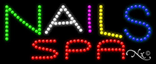 11x27x1 inches Nails Spa Animated Flashing LED Window Sign by Light Master (Image #1)