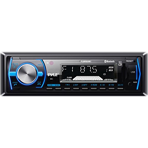 Pyle Marine Bluetooth Stereo Radio - 12v Single DIN Style Boat In dash Radio Receiver System with Built-in Mic, Digital LCD, RCA, MP3, USB, SD, AM FM Radio - Remote Control - PLMRB29B (Black) -