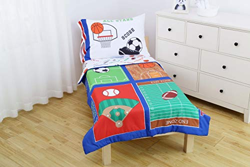 Everyday Kids 4 Piece Toddler Bedding Set -Varsity Sports: Football, Baseball, Basketball and Soccer- Includes Comforter, Flat Sheet, Fitted Sheet and Reversible Pillowcase