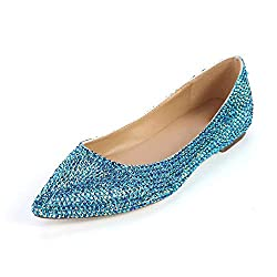 Premium Pointed Toe Rhinestone Leather Shoes