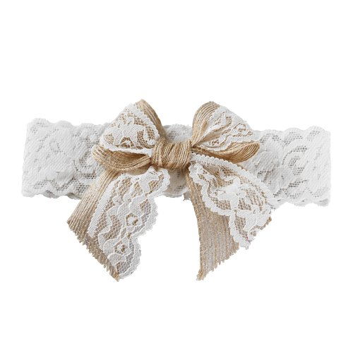 Ivy Lane Design Country Romance Bridal Garter, Large, White