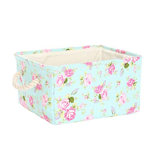 uxcell Storage Basket Bin, Canvas Fabric Toy Organizer Container with Rope Handles, Collapsible FabricToy Box for Shelves Office Bedroom Closet,Floral (Small - 13.8