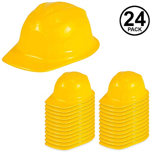 Funny Party Hats Construction Party Hats - 24 Pack - Construction Hats - Soft Plastic Hats - Construction Party Supplies ()