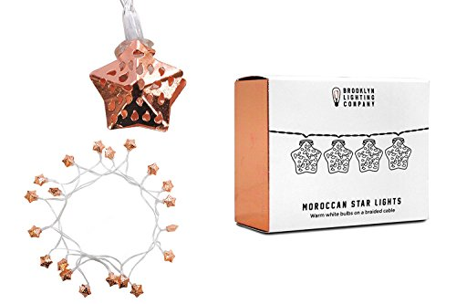 Brooklyn Lighting Company Moroccan 20 LED Star String Lights, Decorative String Lights, Battery Operated String Lights, Party Decor Supplies for Indoor/Outdoor, 8 feet Long