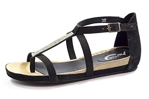 in per e pelle beige nero le casual Sandali in donne Pzt8xwqnY5