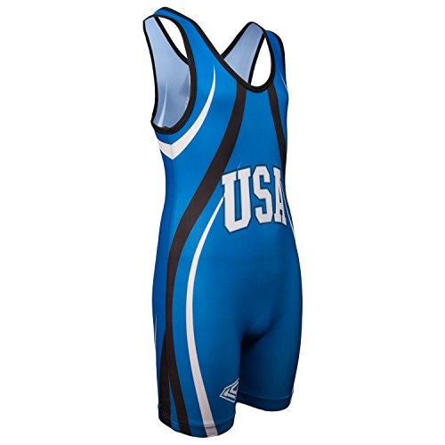 KO Sports Gear's Blue USA Wrestling Singlet - Olympic Style (Youth M : 50 - 65 lbs - Running Singlet Usa
