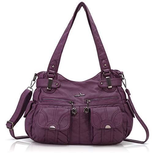 Women Handbags Shoulder Bags Washed Leather Satchel Tote Bag Mutipocket Purse (5739 Purple)