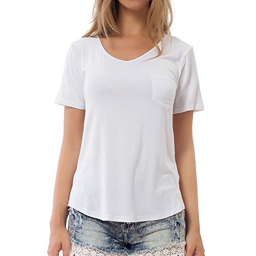 Mei teer Womens Soft Cotton Tee Plain Wide V Neck T Shirt Short Sleeve Loose Tops Blouse Comfortable Undershirts