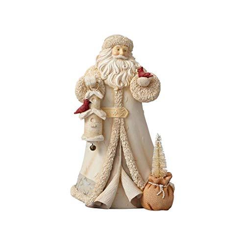 (Enesco Christmas Santa with Bird House Cardinals Stone Resin Figurine 9
