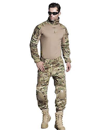 SINAIRSOFT Men's Tactical Uniform Combat Pants Shirt with Pads Airsoft Paintball Military BDU Uniform