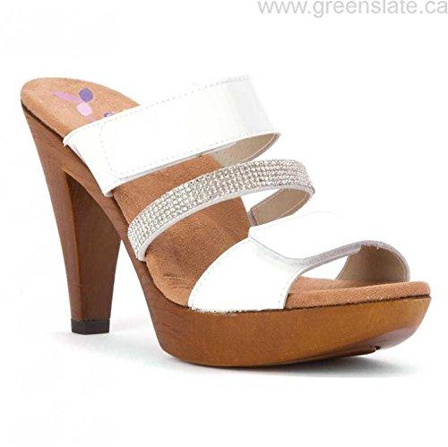 Helle Fashion Comfort Women's Natasha White Patent 2 Hook & Loop Slide with Rhinestone Band Size 38 ()