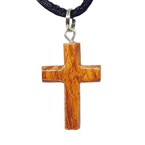 Hawaiian Koa Wood Small Cross Pendant Necklace ()